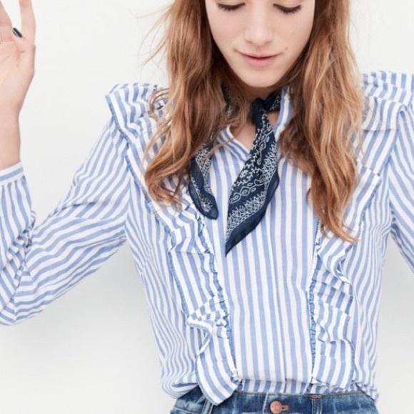 1f1b9e4cf Madewell Tops - Madewell 'Whitney' Stripe Ruffle Button Down Top